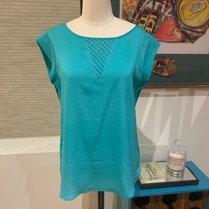 Capsleeve teal summer blouse